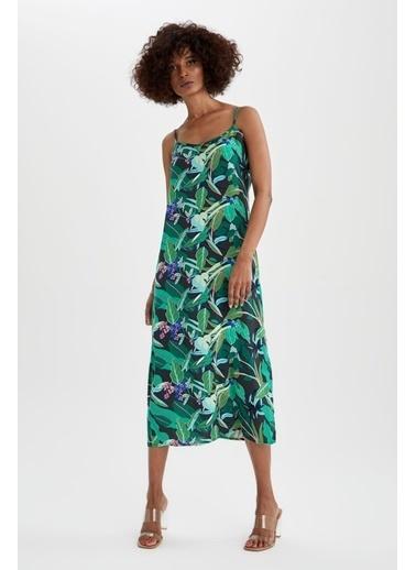 DeFacto Askılı Desenli Dokuma Elbise Yeşil